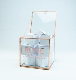 Giftbox kubus glas 15cm x 15cm x 15cm roségoud
