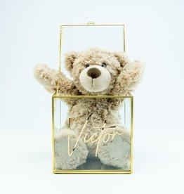Giftbox kubus glas 15cm x 15cm x 15cm goud