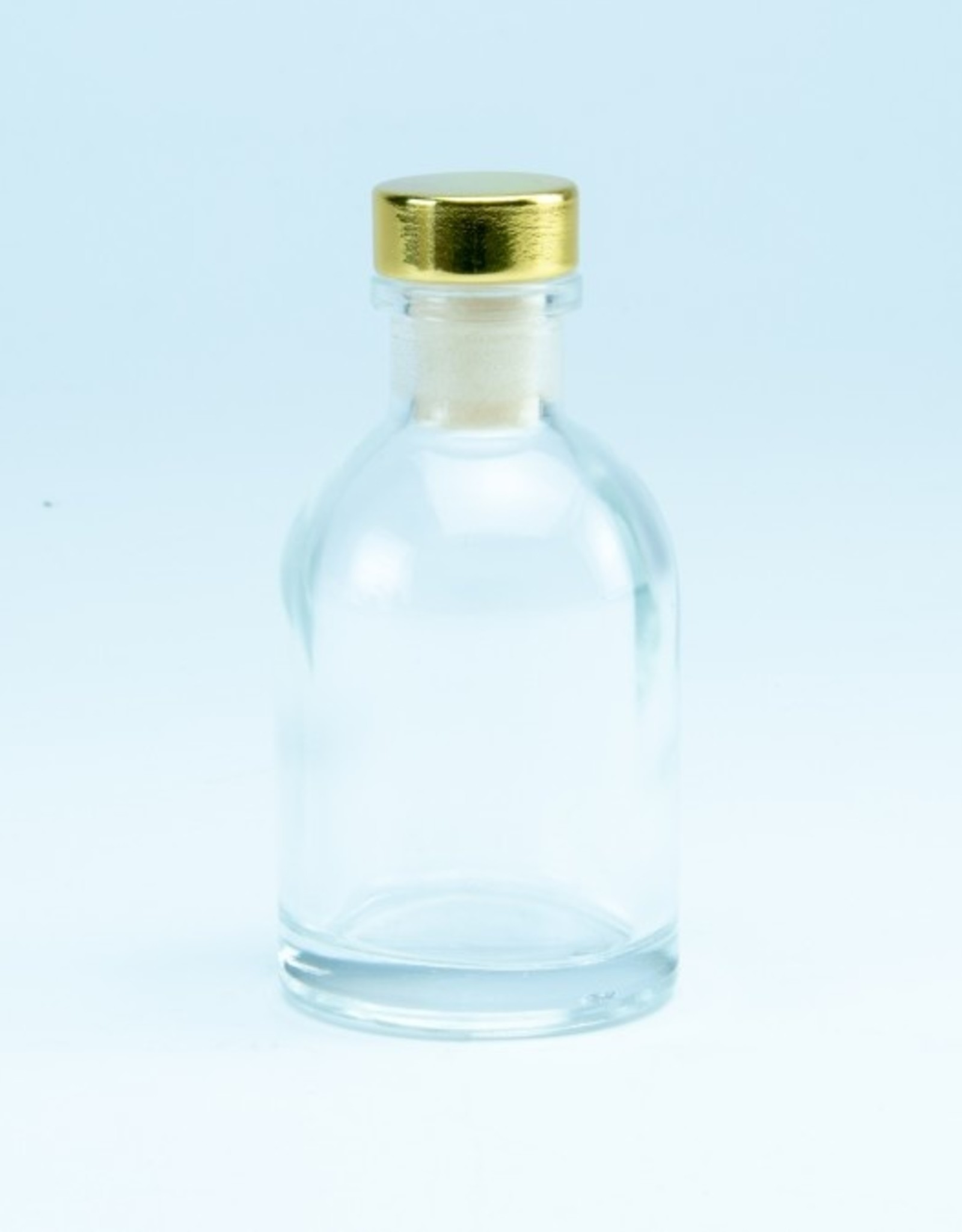 Luxe flesje glas transparant met gouden dop - 50ml