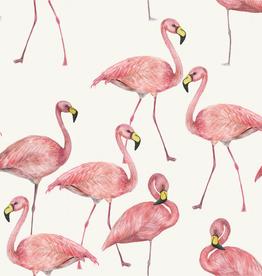 Digital tricot flamingo offwhite