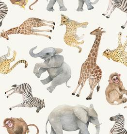 Digital tricot safari dieren offwhite