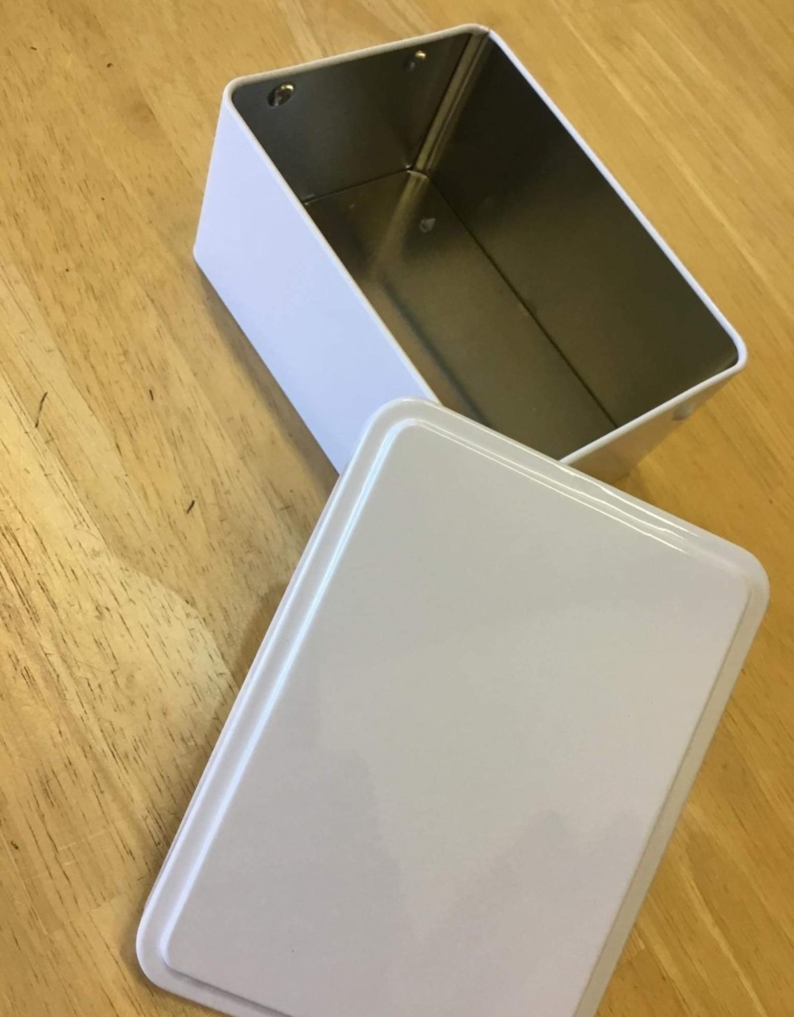 Blanco blikken doos glanzend wit rechthoekig smal 12x8.7x6 cm