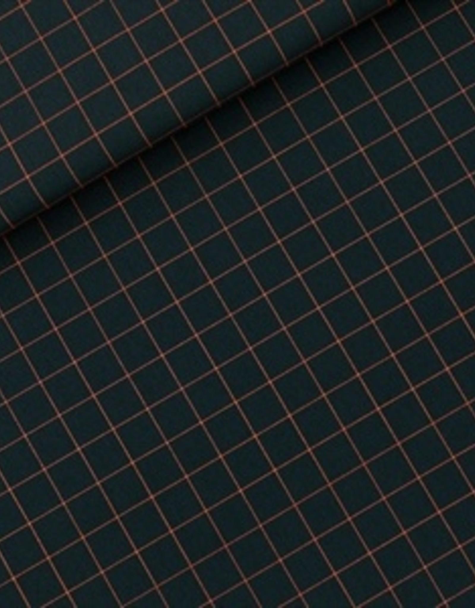 See You At Six Thin Grid- XL  - Cotton Canvas Gabardine Twill - Green Gables- R