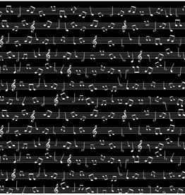 Katoentje zwart met muzieknoten balk