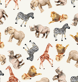 Soft sweat digitaal bedrukt met safari dieren