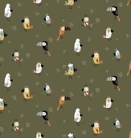 Poppy POPLIN COOL BIRDS - FOREST GREEN