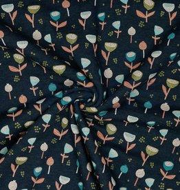 Poppy SWEAT GLITTER FANTASY FLOWERS - INDIGO MELANGE