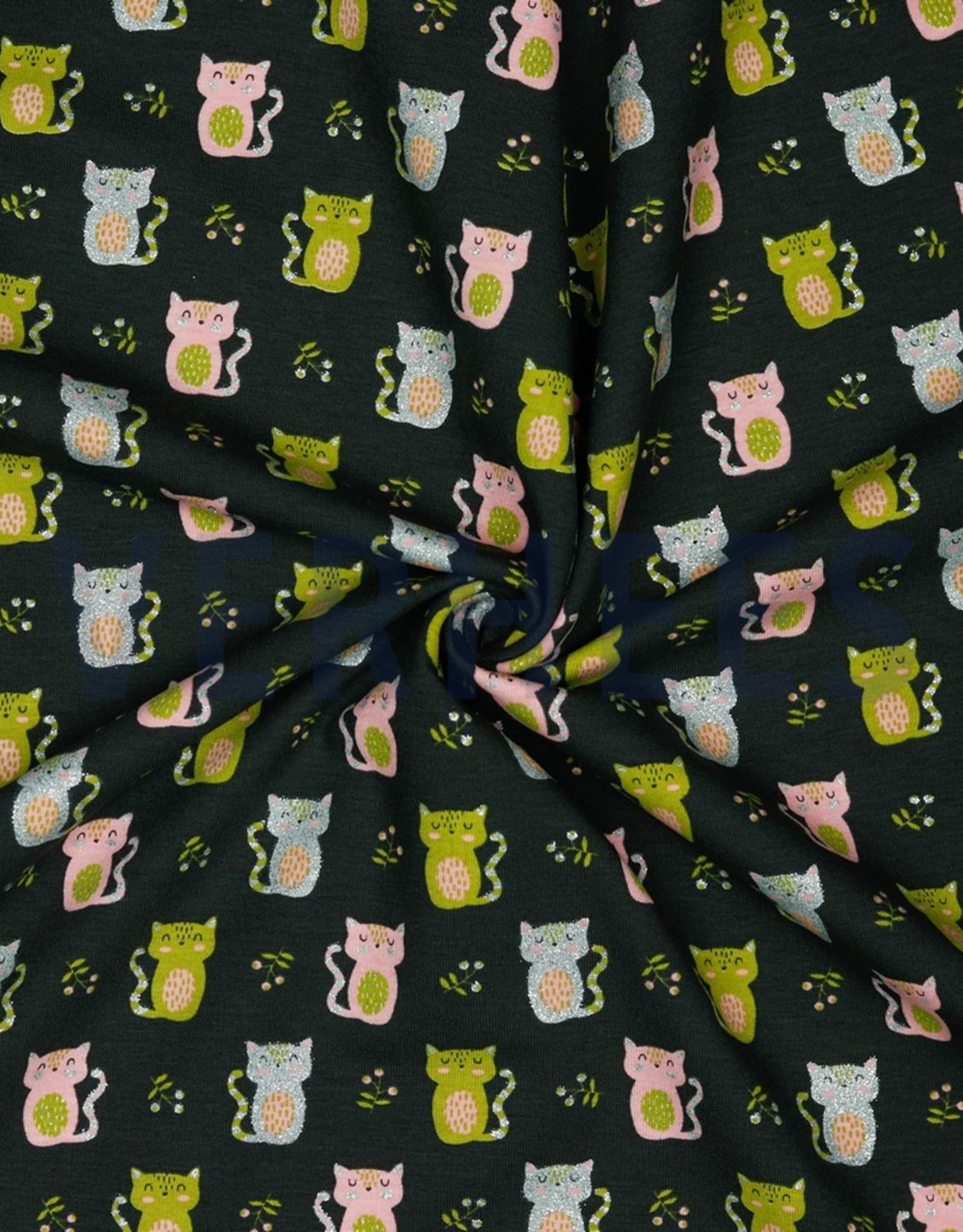 Poppy JERSEY GLITTER SWEET CAT - ANTHRACITE