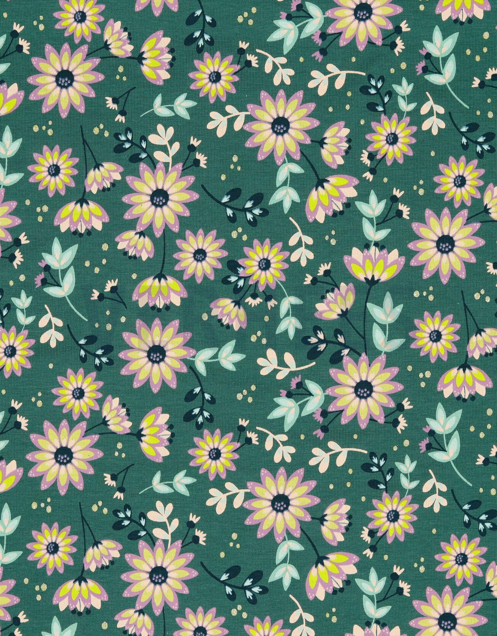 Poppy JERSEY GLITTER FLOWERS - OLD GREEN