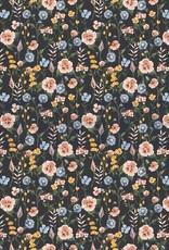 Poppy JERSEY GOTS DIGITAL FLOWERFIELD - NAVY