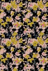 Poppy JERSEY GOTS DIGITAL FLOWERS FUZZ - BLACK