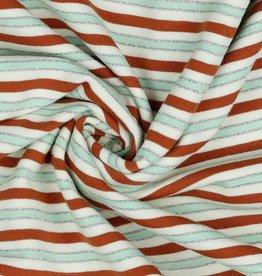 Poppy JERSEY STRIPES LUREX - TERRA/SILVER