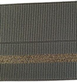 Elastiek met vouwlijn 60-30mm kaki geribbeld met gouden lijn