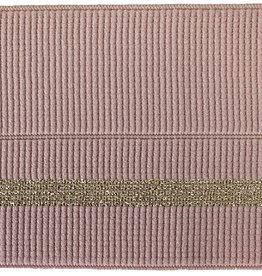 Elastiek met vouwlijn 60-30mm rose geribbeld met gouden lijn