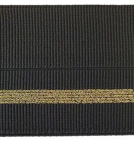 Elastiek met vouwlijn 60-30mm zwart geribbeld met gouden lijn