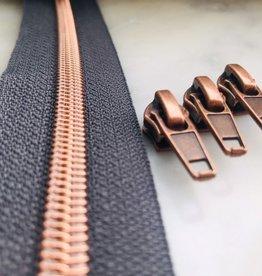 1m metallic rits aan de meter 6mm : antraciet met roségoud (incl. 3 schuivers)