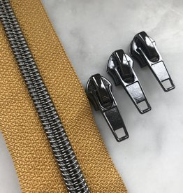 1m metallic rits aan de meter 6mm : oker met nikkel (incl. 3 schuivers)