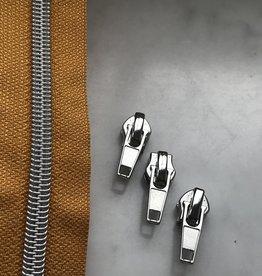 1m metallic rits aan de meter 6mm : zonnegeel met zilver (incl. 3 schuivers)