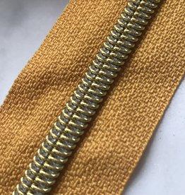 1m metallic rits aan de meter 6mm : zonnegeel met goud (incl. 3 schuivers)