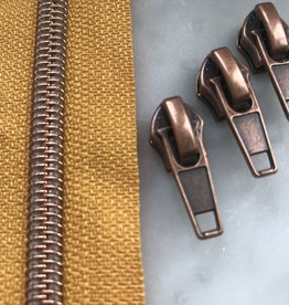 1m metallic rits aan de meter 6mm : zonnegeel met roségoud (incl. 3 schuivers)
