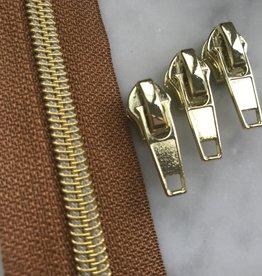 1m metallic rits aan de meter 6mm : cognac met goud (incl. 3 schuivers)
