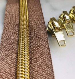 1m metallic rits aan de meter 6mm : mokka met goud (incl. 3 schuivers)