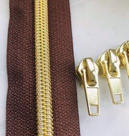 1m metallic rits aan de meter 6mm : bruin met goud (incl. 3 schuivers)