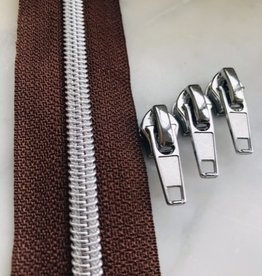 1m metallic rits aan de meter 6mm : bruin met zilver (incl. 3 schuivers)