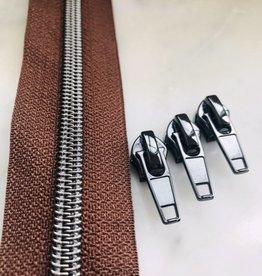 1m metallic rits aan de meter 6mm : bruin met nikkel (incl. 3 schuivers)