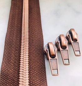 1m metallic rits aan de meter 6mm : bruin met roségoud (incl. 3 schuivers)
