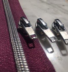 1m metallic rits aan de meter 6mm : rode biet met zilver (incl. 3 schuivers)