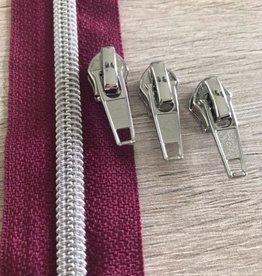 1m metallic rits aan de meter 6mm : donkermauve met zilver(incl. 3 schuivers)