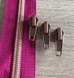 1m metallic rits aan de meter 6mm : felmauve met roségoud(incl. 3 schuivers)