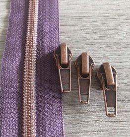 1m metallic rits aan de meter 6mm: viooltje met roségoud(incl. 3 schuivers)