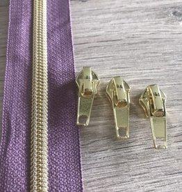 1m metallic rits aan de meter 6mm: viooltje met goud (incl. 3 schuivers)