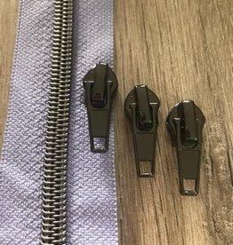 1m metallic rits aan de meter 6mm : licht lila met nikkel(incl. 3 schuivers)