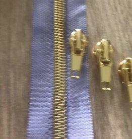 1m metallic rits aan de meter 6mm : licht lila met goud (incl. 3 schuivers)