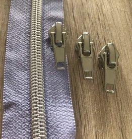 1m metallic rits aan de meter 6mm : licht lila met zilver (incl. 3 schuivers)