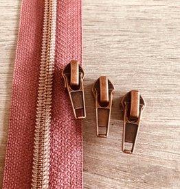 1m metallic rits aan de meter 6mm : oudroze met roségoud (incl. 3 schuivers)