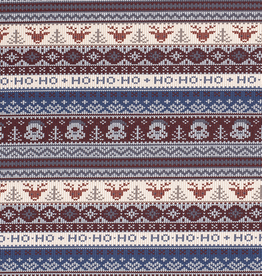 Brushed french terry Christmas bordeau/blauw
