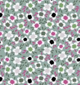 Tricot kleine bloemetjes munt
