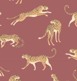 Tricot karmijnrood met jaguar