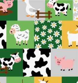 Tricot met boerderijdieren vakjes