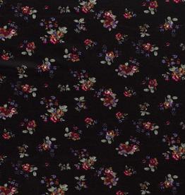 Discharge zwart met romantische bloemen