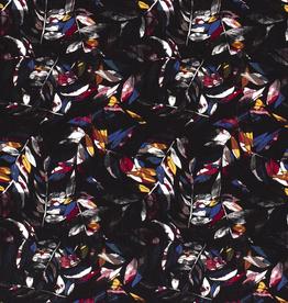 Viscose abstracte bladerprint kleurrijk