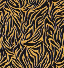 Viscose zebraprint mosterd/navy