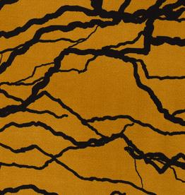Crepe jersey mosterd abstracte lijnen