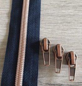 1m metallic rits aan de meter 6mm : donkerste blauw met roségoud (incl. 3 schuivers)