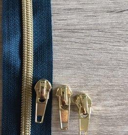1m metallic rits aan de meter 6mm : pauwenveergroen met goud (incl. 3 schuivers)