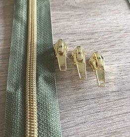 1m metallic rits aan de meter 6mm : kaki met goud (incl. 3 schuivers)